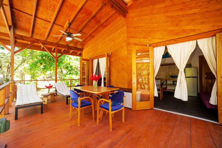 The 2 bedroom apartment for rent in bocas del toro features a stunning outdoor deck.