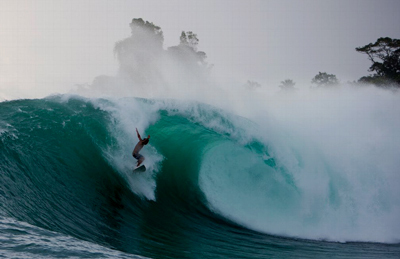 silverbacks big wave spot surfer dropping in late in panama